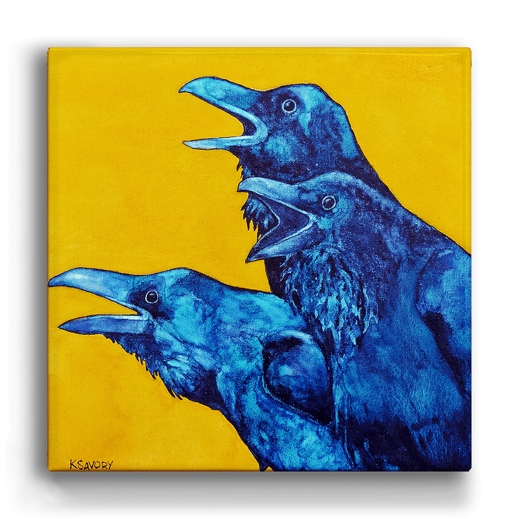 Three Ravens Facing Left Yellow Box Art Old Wood Signs