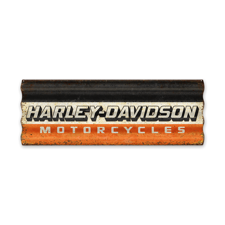 Corrugated Three Colored Harley-Davidson Logo Metal Sign