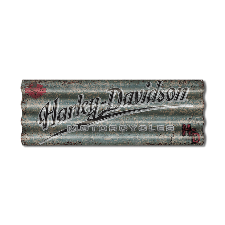 Rustic Blue Harley Davidson Corrugated Metal Sign Old