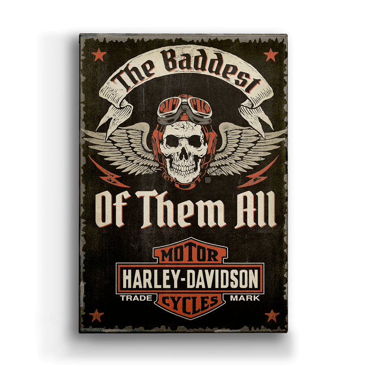 Winged Skull Harley Davidson Metal Box Art Sign Old