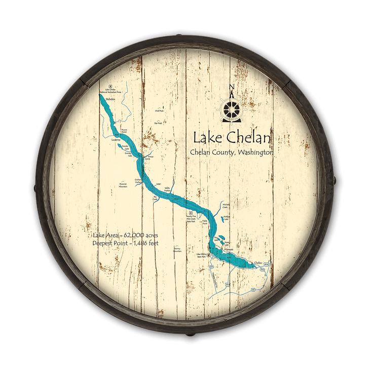 Lake Chelan Washington Wooden Barrel End Map - Old Wood Signs on