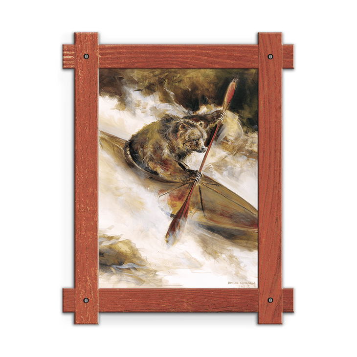 Bear In Kayak Framed Art Old Wood Signs
