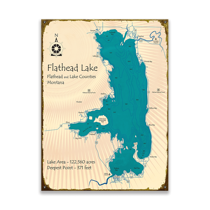 map of flathead lake Flathead Lake Montana Map Sign Old Wood Signs map of flathead lake