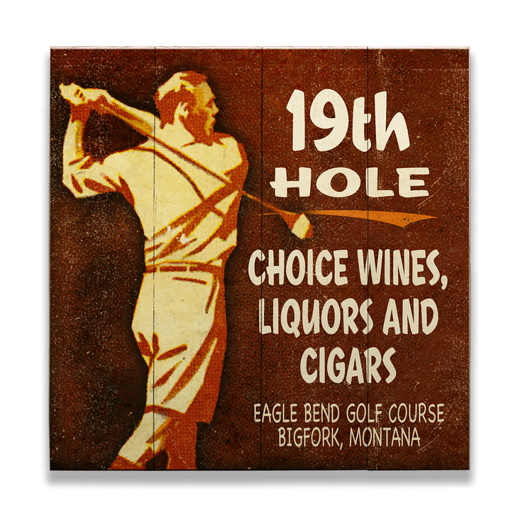 19th Hole Golfers Lounge Sign Old Wood Signs