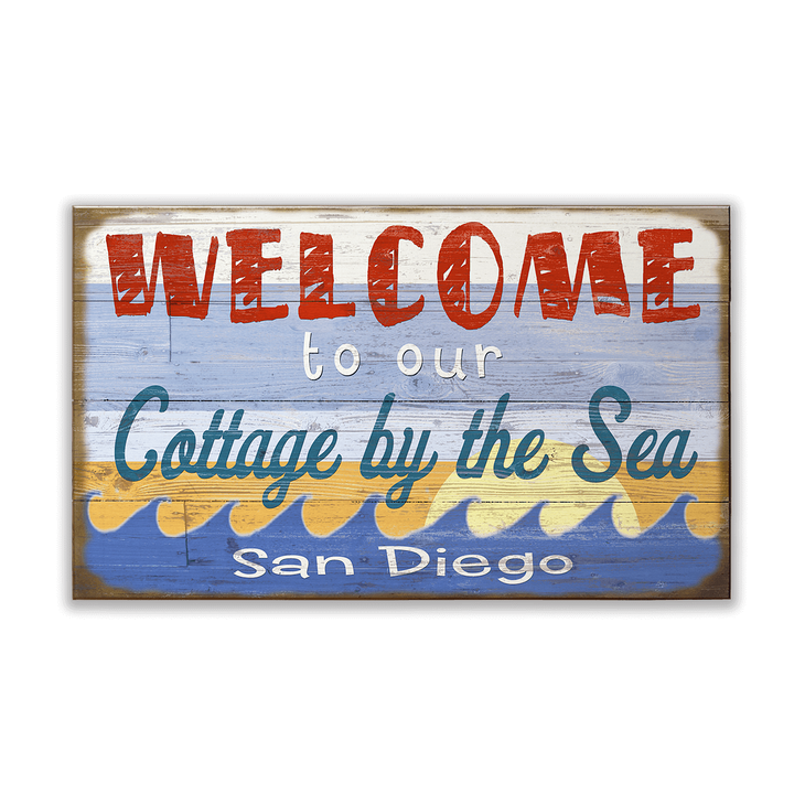 Welcome To Our Beach House Sign: Welcome To Our Cottage By The Sea Sign