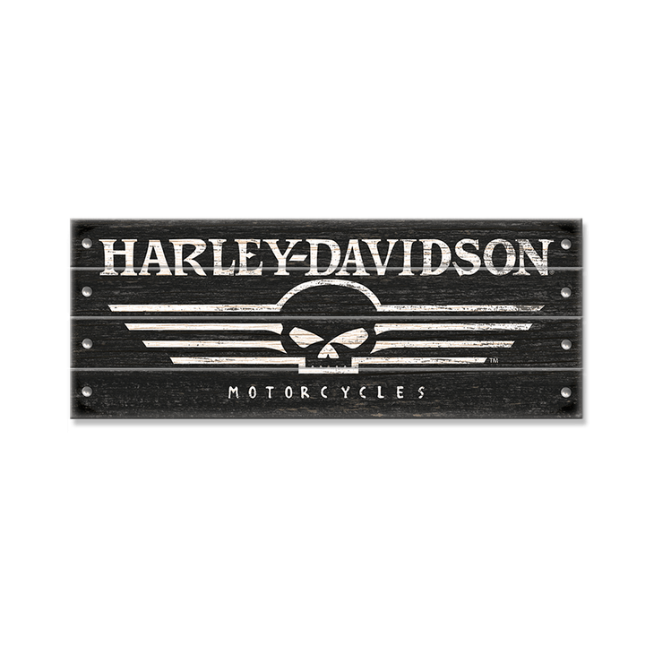 Harley DavidsonR Skull With Studs Wood Sign