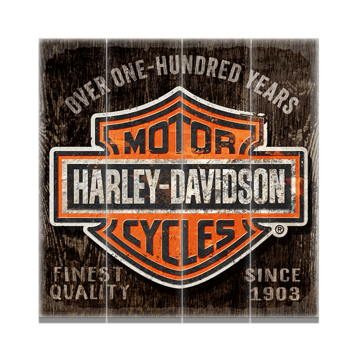 harley-davidson bar & shield - old wood signs