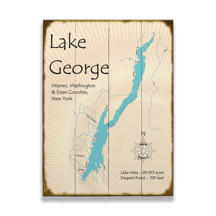 map lake george ny Lake George New York Map Sign Old Wood Signs map lake george ny