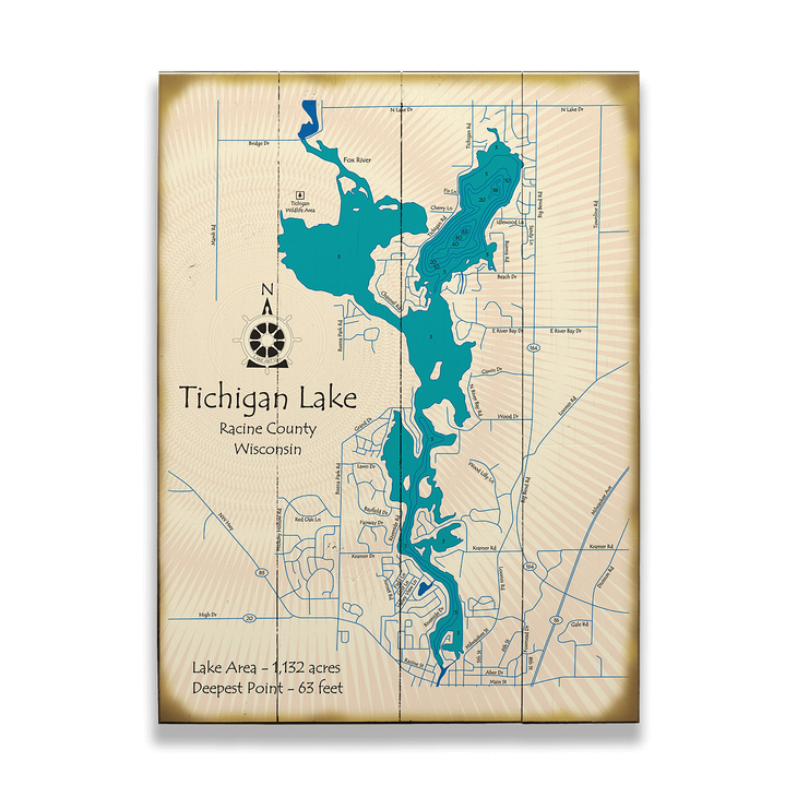 Tichigan Lake Wisconsin Lake Map Sign